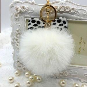 White Leopard Bow Pompom Keychain